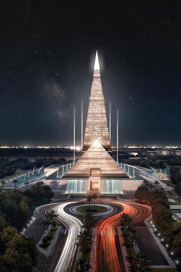 Piramis alakú felhőkarcolót építenének Egyiptomban