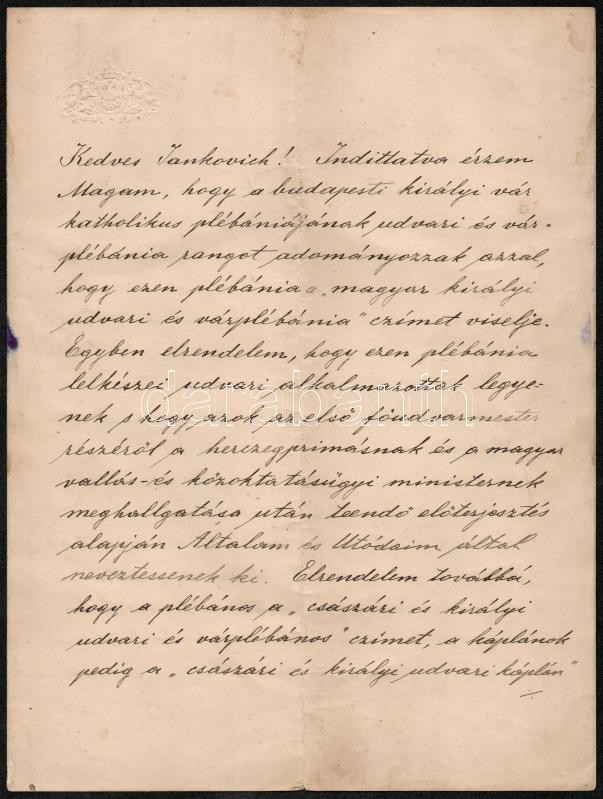 Kossuth és Széchenyi eredeti levelei kalapács alatt