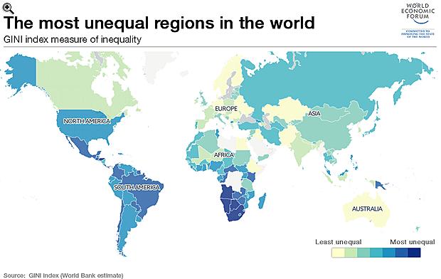 Íme, a világtérkép az egyenlőtlenségről