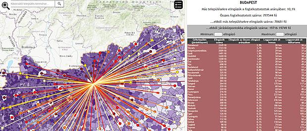magyarország térkép szentgotthárd Látványos térkép: így ingázik munkába a magyar | PORTFOLIO.HU magyarország térkép szentgotthárd