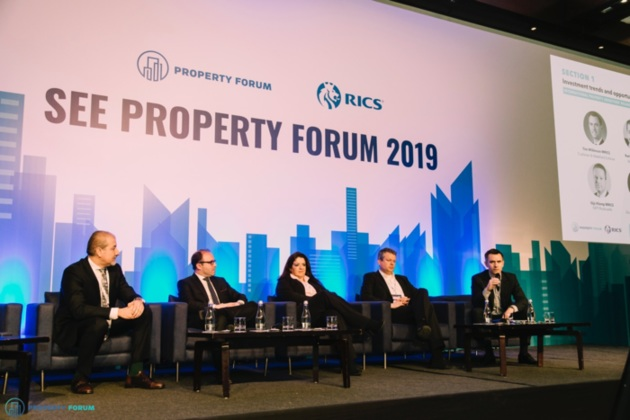 International property investors' roundtable:  Radu Boitan FRICS (Revetas Capital), Stamatis Sapkas (Globalworth Real Estate Investments), Lila Pateraki (Zeus Capital Management), Gijs Klomp MRICS (NEPI Rockcastle) and Tim Wilkinson MRICS (Cushman & Wakefield Echinox)
