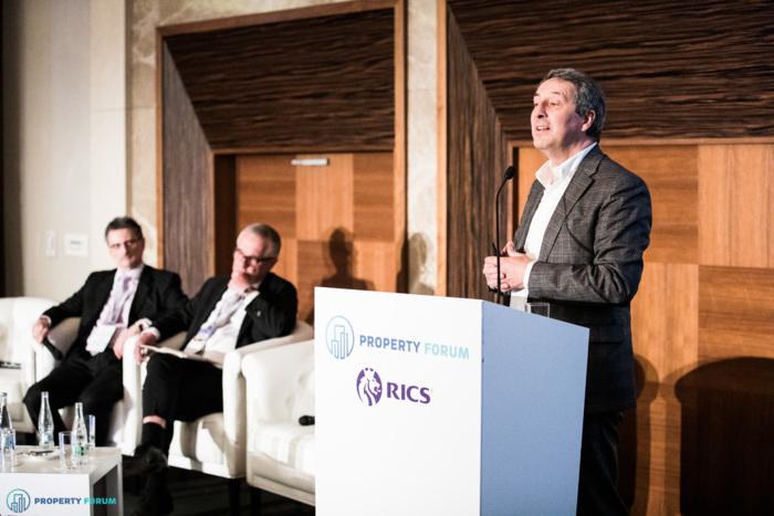 Hotel panel: Péter Számely MRICS (HYPO NOE Landesbank für Niederösterreich und Wien AG),Laurie Farmer (Bream Real Estate Slovakia) and Marius Gomola MRICS (Horwath HTL, HOTCO)