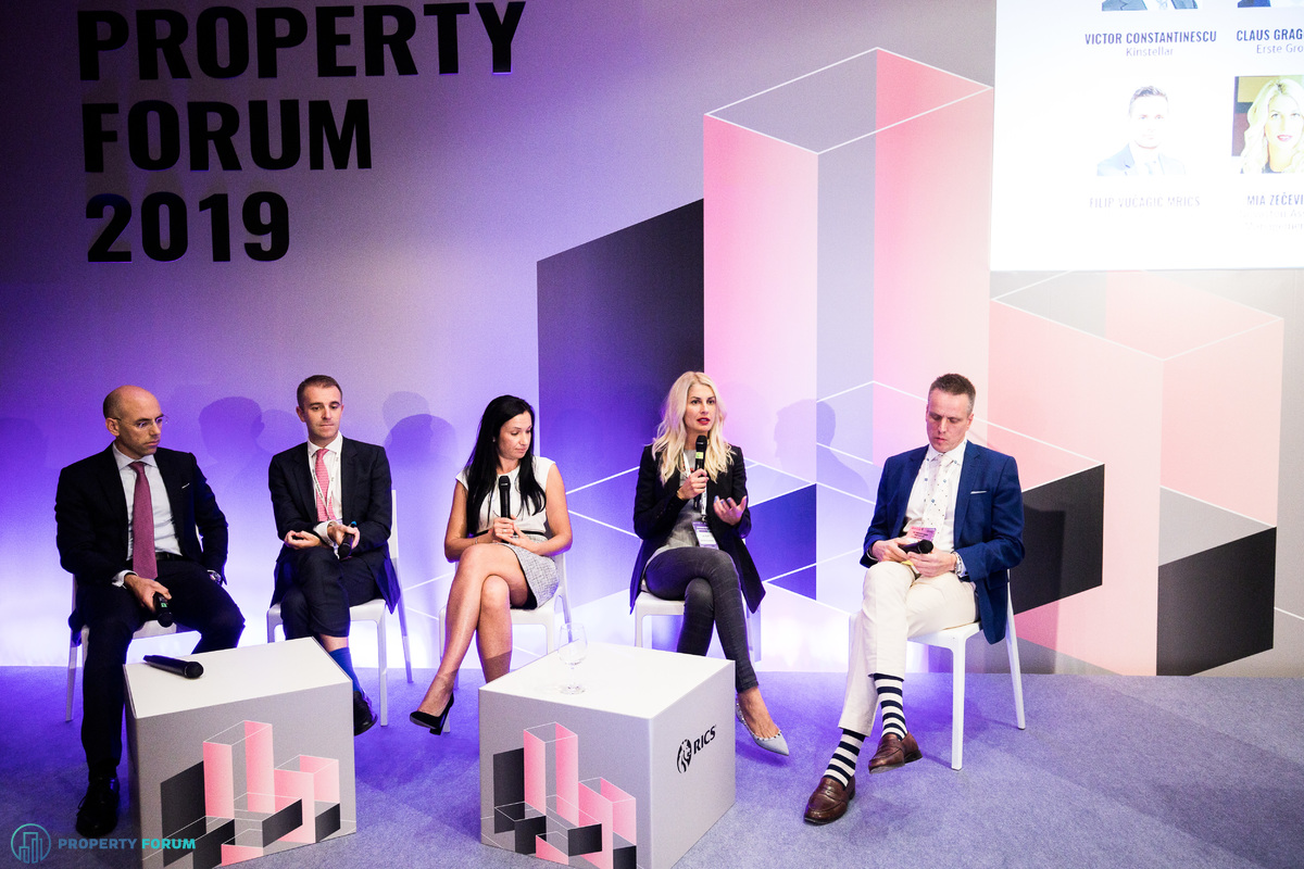 SEE panel: Claus Graggaber (Erste Group), Andrew Peirson (CBRE), Elitsa Tsenova (Lion's Head Investment), Mia Zecevic (Novaston Asset Management) and Victor Constantinescu (Kinstellar)