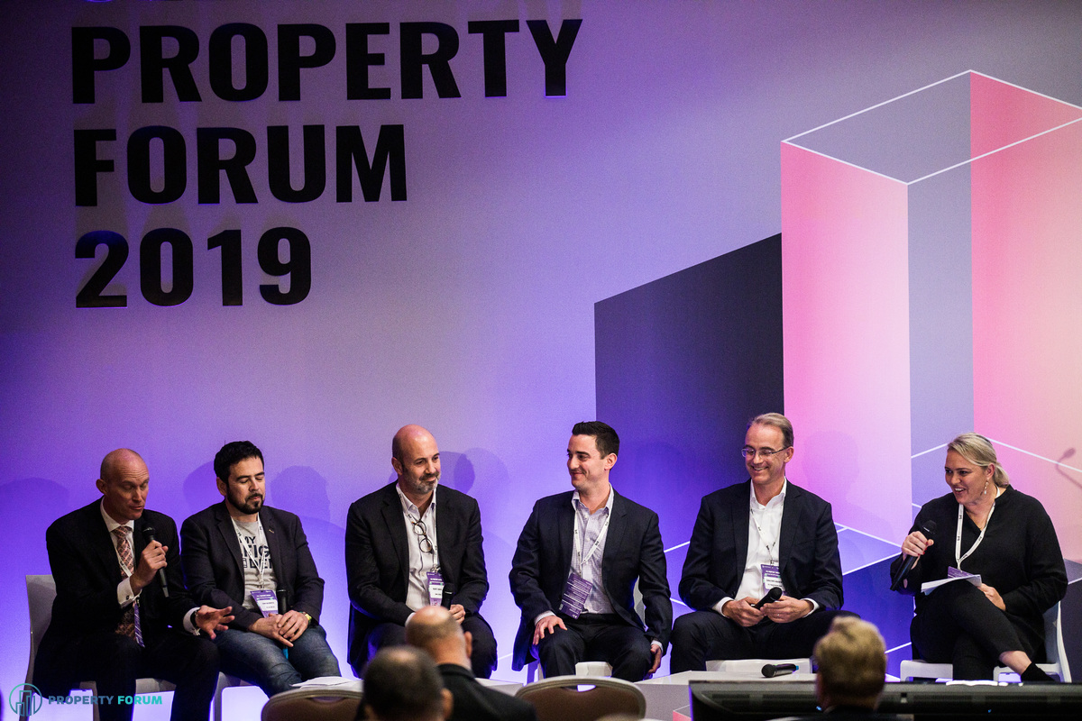 Retail panel: Mark Robinson, Leon Goldwater (We Are Pop Up), Duarte Cabral (Sonae Sierra), Oren Rosen (Infuse Location Ltd), Christoph Augustin (ECE Projektmanagement) and Jolanta Wawrzyszuk (Atrium European Real Estate)
