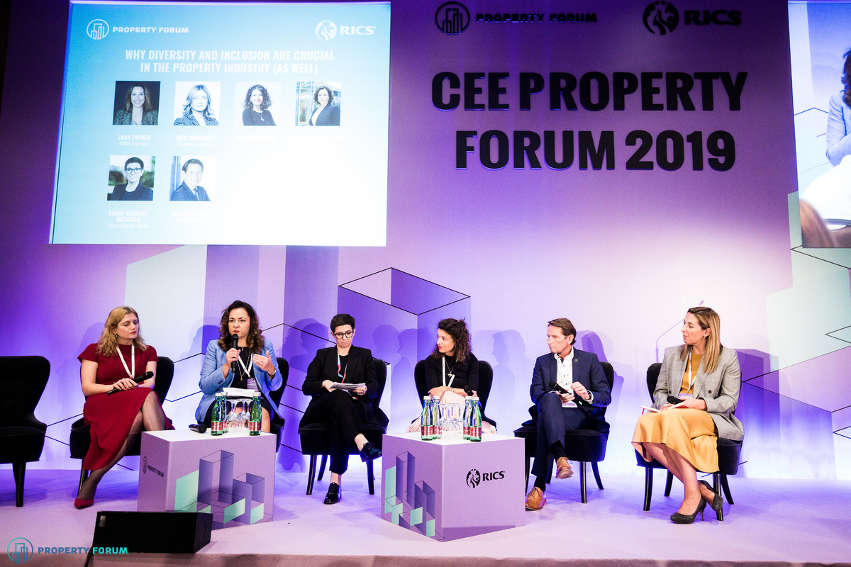 Diversity panel: Inga Chkhaidze (Revetas Capital), Marta Machus-Burek (Colliers International), Karin Schmidt-Mitscher (Erste Group Bank), Ana Dumitrache (CTP), Wilhelm Sterl (Immofinanz) and Lara Paemen (IFMA EMEA)