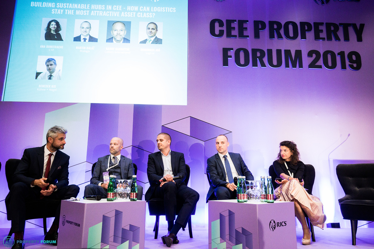 Logistics panel: Benedek Kis (Kühne + Nagel), Harry Bannatyne (Colliers International), Domonkos Joó (Logicor), Martin Baláž (Prologis) and Ana Dumitrache (CTP)