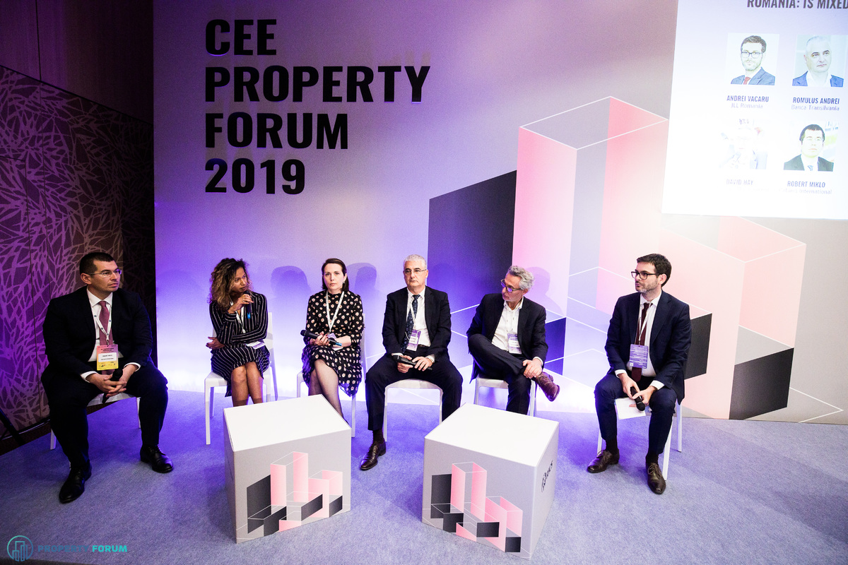 Romania panel: Robert Miklo (Colliers International), Beatrice Dumitrascu (One United Properties), Roxana Dudau (Noerr), Romulus Andrei (Banca Transilvania), David Hay (ADD Value Management) and Andrei Vacaru (JLL)
