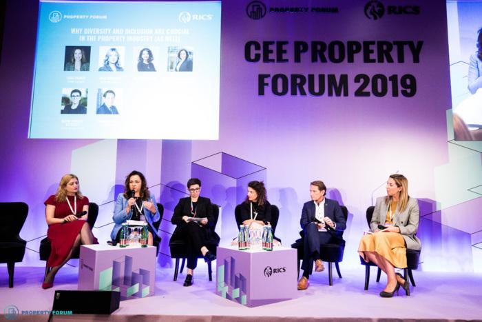 Diversity panel: Inga Chkhaidze (Revetas Capital), Marta Machus-Burek (Colliers International), Karin Schmidt-Mitscher (Erste Group Bank), Ana Dumitrache (CTP), Wilhelm Sterl (Immofinanz) and Lara Paemen (IFMA EMEA)