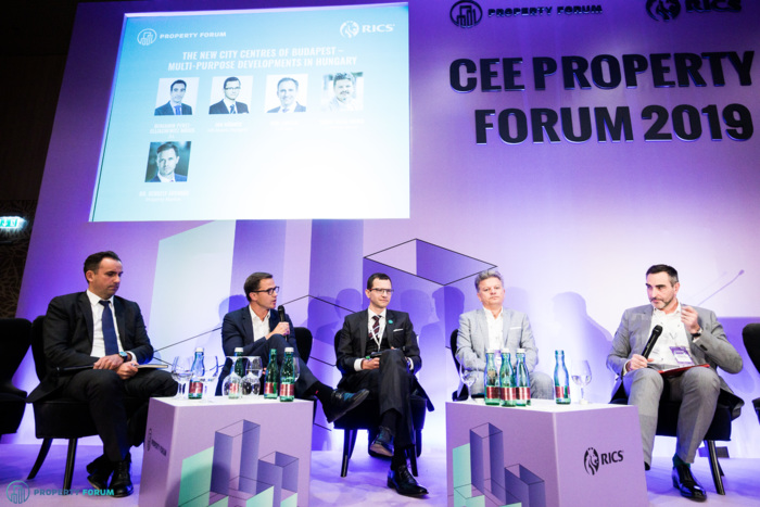 Hungarian panel: Tom Lisiecki (TriGranit), Gergely Árendás (Property Market), Gergely Árendás (Property Market), Jan Hübner (HB Reavis), Tibor Tatár (Futureal Group) and Benjamin Perez-Ellischewitz MRICS (JLL)