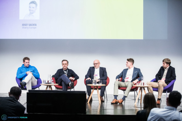 Central European proptech success stories: James Dearsley (Unissu), Marley Fabisiewicz (spaceOS), Hubert Abt (New Work Offices), Lukas Balik (Spaceflow) and Josef Sachta (Sharry Europe)