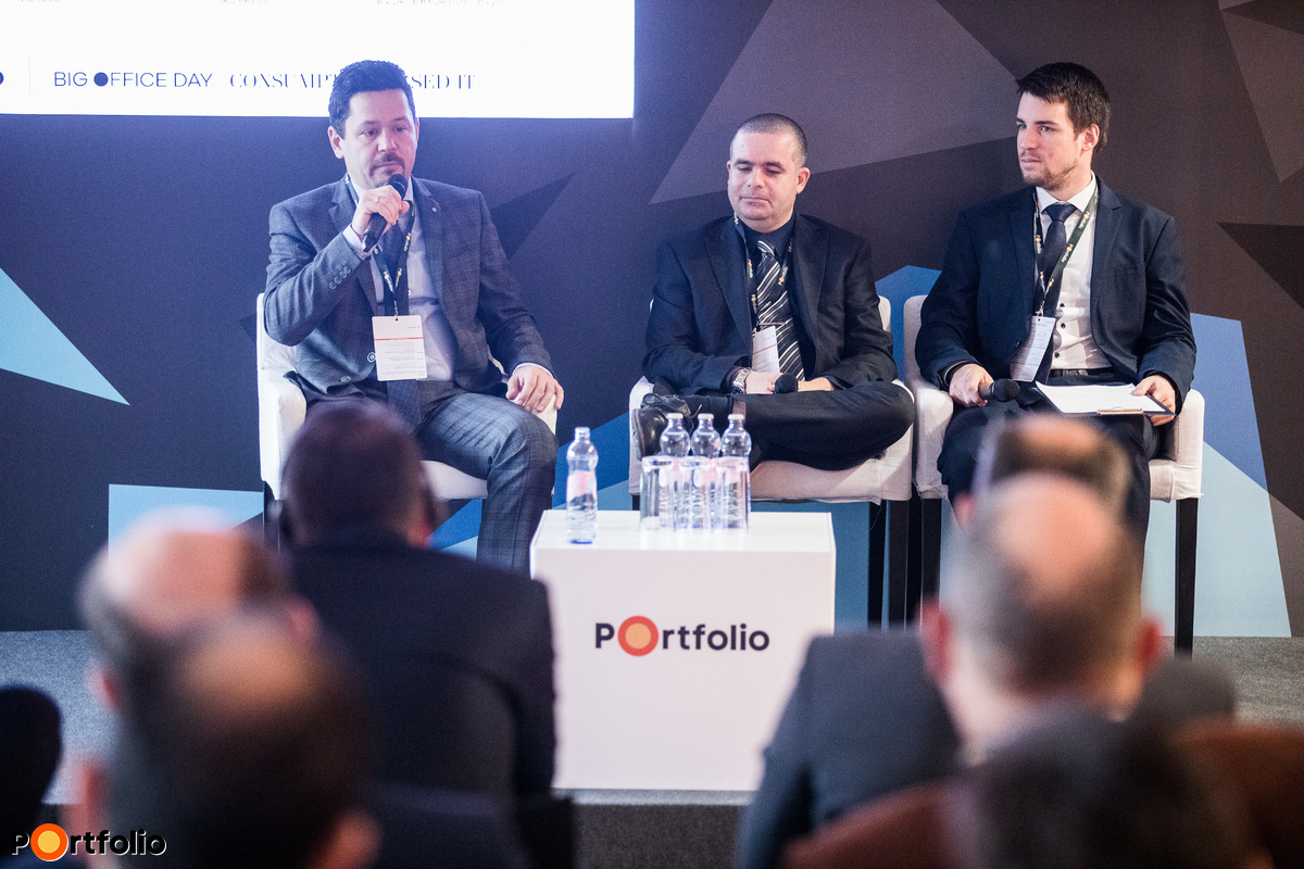 Consumption Based IT in practice - what is the secret of success? Participants of the panel: Sándor Szalay (Chief Information Officer, SIGNAL IDUNA Biztosító Zrt.), Zoltán Kozma (Chief Information Officer, Takarékinfo) and the moderator, Dániel Huszák (Analyst, Portfolio)