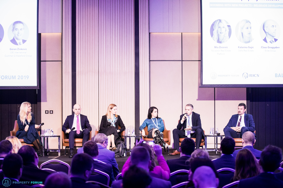 Belgrade development panel: Mia Zecevic (Novaston Real Estate Platform), Claus Graggaber (Erste  Group AG), Katarina Gajic (Delta Real Estate), Jovana Martinovic MRICS (Merin Holdings), Goran Zivkovic (CBS International | Cushman & Wakefield Group) and Josko Pitesa (Immofinanz)