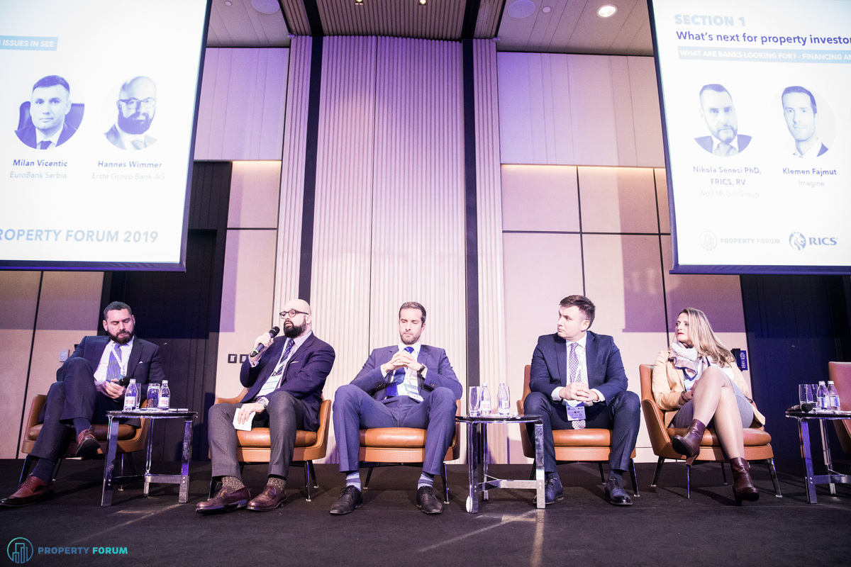 Financing and valuation panel:  Nikola Senesi PhD (Wolf McGill Group), Hannes Wimmer (Erste Group Bank AG), Klemen Fajmut (Imagine), Milan Vicentic (EuroBank Serbia) and Danijela Nedeljkovic Stojakov MRICS (OTP banka Srbija)