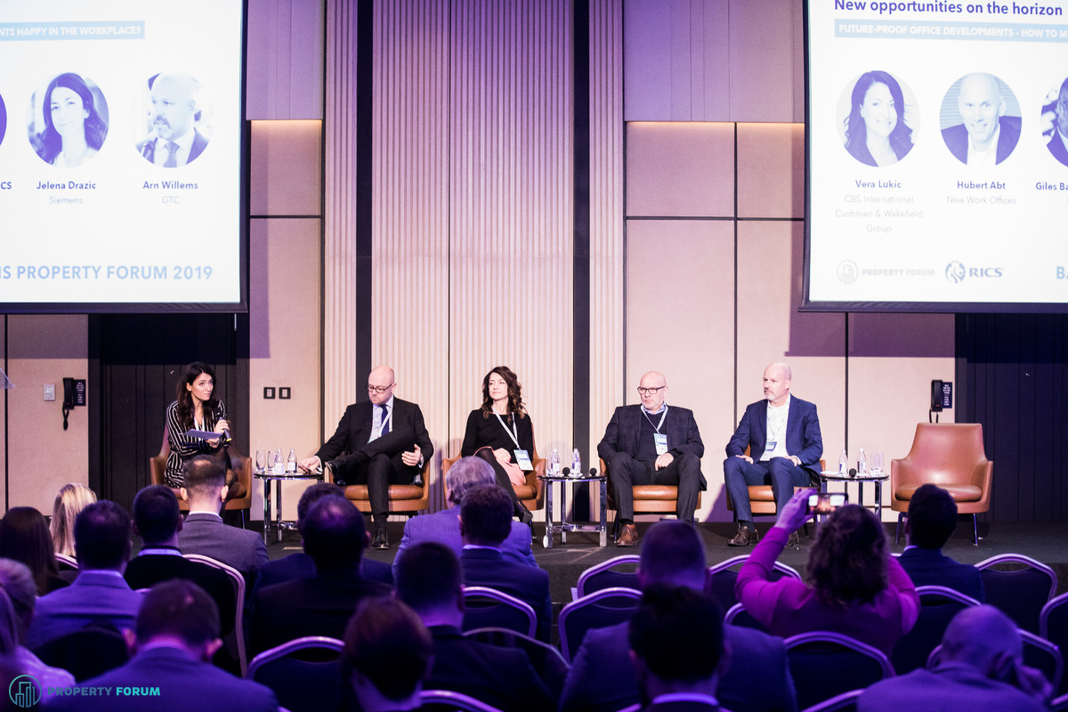 Workplace panel:  Vera Lukic (CBS International | Cushman & Wakefield Group), Giles Bateman MRICS (IWG plc), Jelena Drazic (Siemens),  Hubert Abt (New Work Offices) and Arn Willems (GTC)