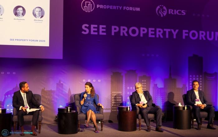 Romanian investors' panel: Codrin Matei (Crosspoint Real Estate), Ana Dumitrache (CTP), Romulus Andrei (Banca Transilvania) and Mihai Zaharia (Globalworth)