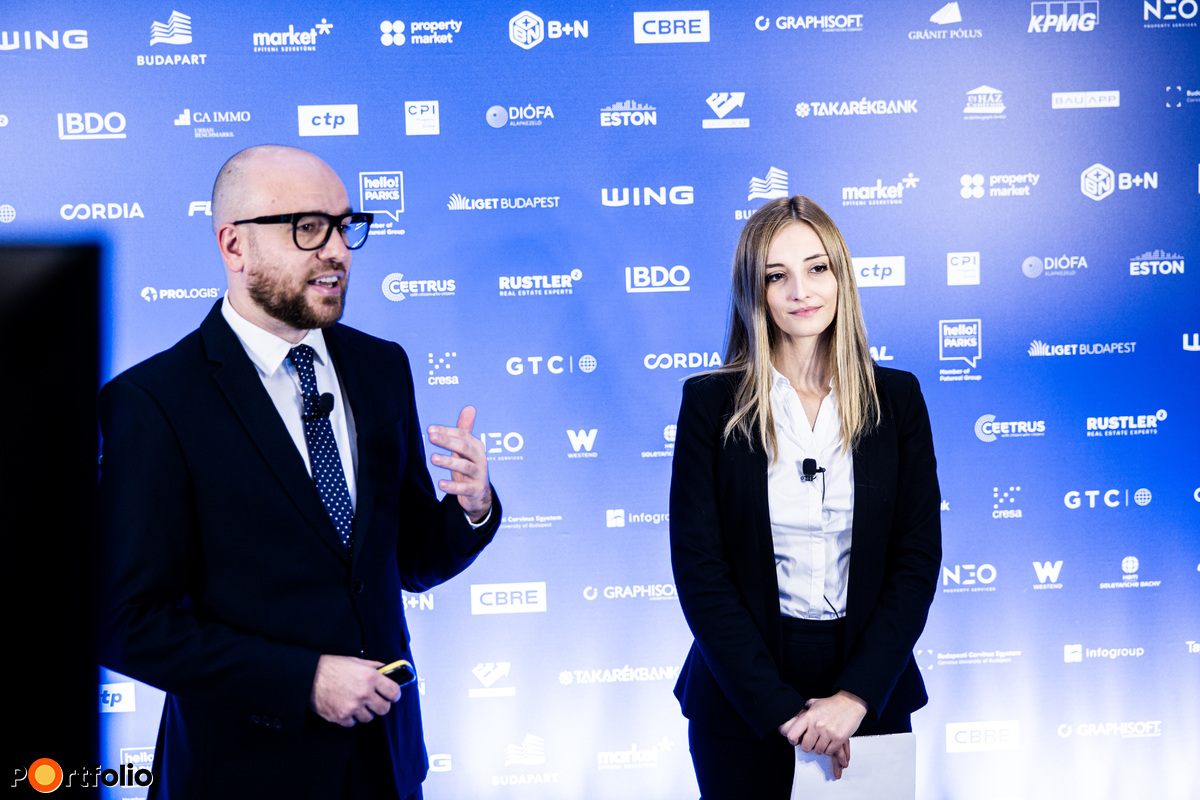 Pásztor Roxána (ingatlanpiaci elemző, Portfolio) és Orosz Márton (tartalomfejlesztési igazgató, Portfolio) együtt konferálták fel az ÉV Koncepciója díj jelöltjeit