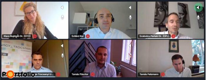 Jogi workshop és Q&A. Online beszélgetés résztvevői: Dr. Berethalmi Péter (Managing Partner, Nagy és Trócsányi Ügyvédi Iroda), Dr. Bujdosó Klára (Group Legal Counsel, GTC), Dr. Felsmann Tamás, (alkalmazott ügyvéd, adójogi szakjogász, adótanácsadó, Dessewffy & Dávid and Partners CEE Attorneys), Dr. Perlaki Szabolcs (partner, OPL), Dr. Pásztor Tamás (Head of Legal and Operation, CPI Hungary). A moderátor: Dr. Kui Szilárd (Local Partner, Ingatlanjogi Csoport vezetője, DLA Piper) (Fotó: Stiller Ákos)