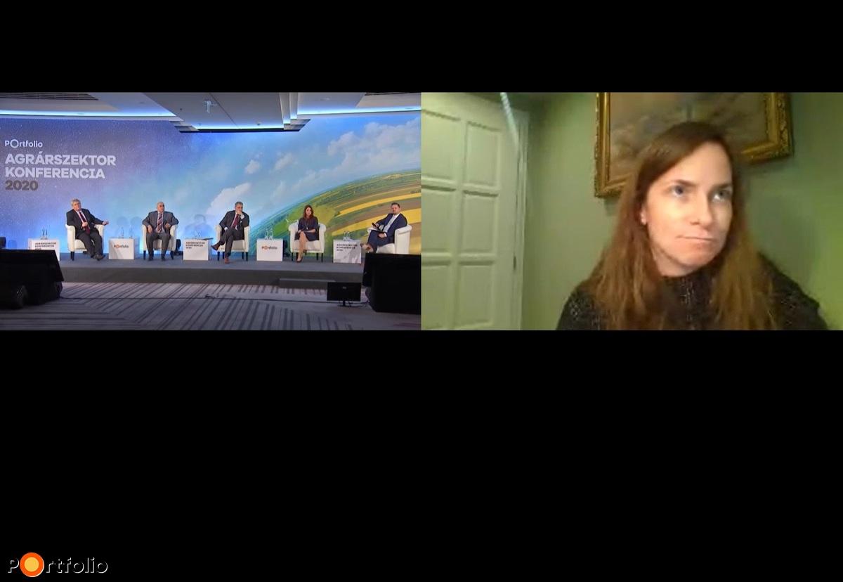 """Reformtervek az élelmiszeriparban – Mit kellene tartalmaznia egy új agrárgazdasági """"new deal-nek? A beszélgetés résztvevői: Éder Tamás (elnök, Felelős Élelmiszergyártók Szövetsége), Makai Szabolcs (vezérigazgató, Talentis Agro Zrt.), Lázár János (kormánybiztos, Nemzeti Ménesbirtok és Tangazdaság Zrt.), Kovács Ágnes (ügyvezető igazgató, Sió-Eckes Kft.) és a moderátor, Hollósi Dávid (ügyvezető igazgató, Takarék Agrár Üzletág, Takarékbank Zrt.). Online csatlakozott: Tóth Anett (ügyvezető igazgató, Kall Ingredients Kft.)"""