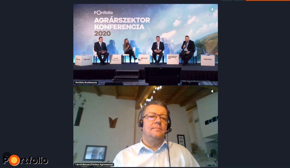 Várva várt drónszabályozás a növényvédelemben - Digitális megoldások és új szerek a védekezésben, uniós szabályozási követelmények. A beszélgetés résztvevői: Szalkai Gábor (Közkapcsolati és Fenntarthatósági Vezető, Bayer Hungaria Kft.), dr. Nyulas-Oberna Sára (állandó szakértő, Digitális Jólét Nonprofit Kft.), Jordán László (növény-, talaj- és agrárkörrnyezet-védelmi igazgató, Nemzeti Élelmiszerlánc-biztonsági Hivatal) és a moderátor, Görög Róbert (ügyvezető, Magyar Növényvédelmi Szövetség). Online csatlakozott: Borsos László (ügyvezető igazgató, Corteva Agriscience)