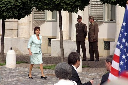 Ildikó Lendvai of the ruling Socialist Party (MSZP) arrives