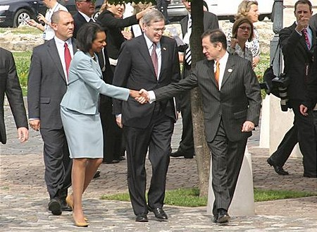 State Secretary Condoleezza Rice shakes on it