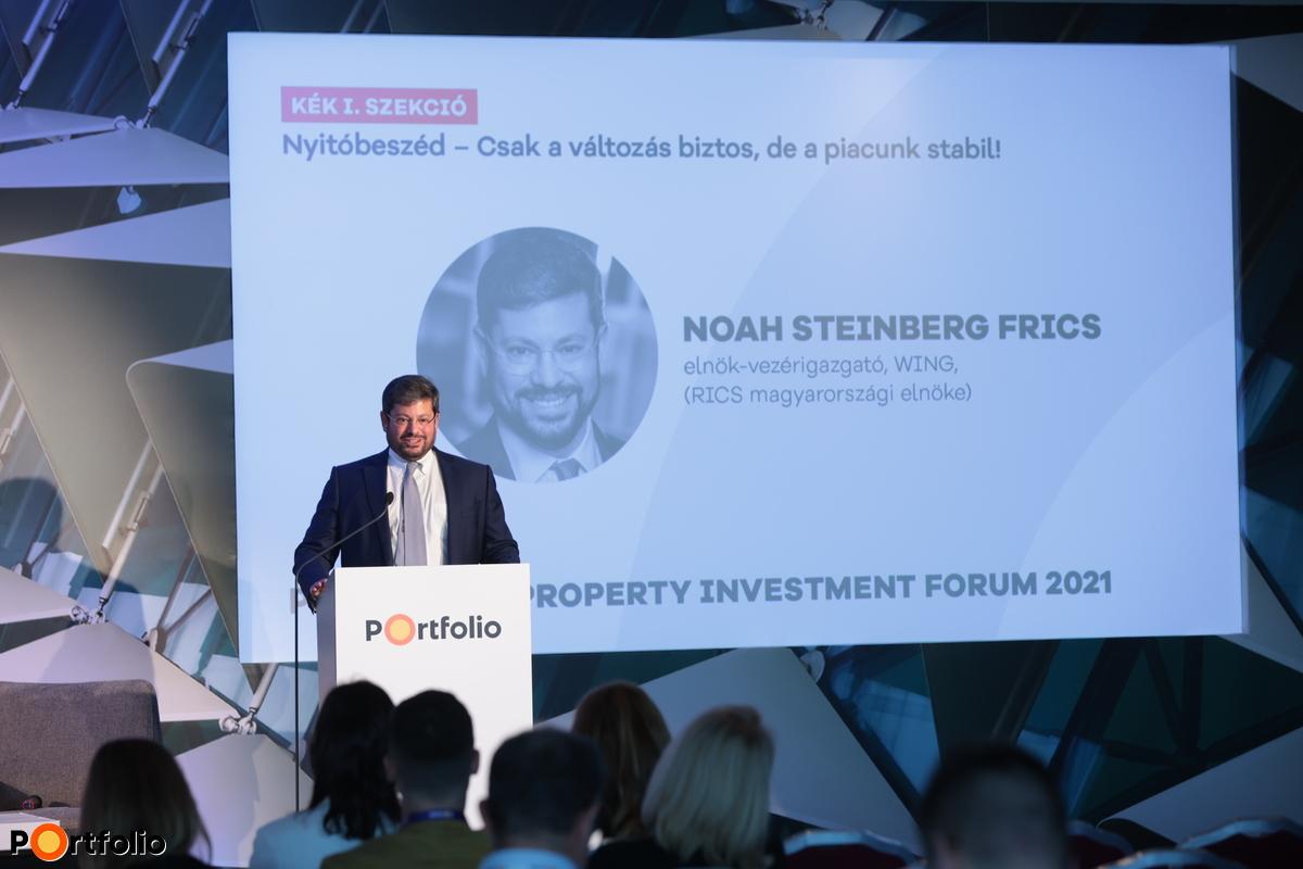 Noah Steinberg FRICS (WING, elnök-vezérigazgató): Nyitóbeszéd – Csak a változás biztos, de a piacunk stabil! (Fotó: Mónus Márton, Mudra László)