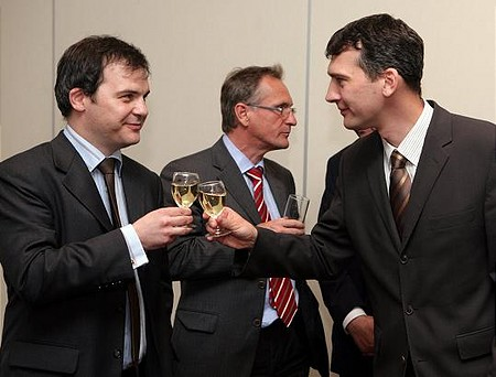 Az alapítók öröme a sikeres rendezvénysorozat felett (Tüske Tamás, Enterprise Investors és Agócs Balázs, Portfolio.hu)