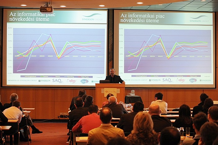 Synergon Informatika Nyrt. vezérigazgatója, Lazarovits Márk a MID-Cap-ek szekciójában tartott előadást