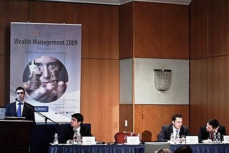 Balázs Bozsik (Erste Investment Hungary), Ákos Sárándi (QUANTIS Investment Management Zrt.- BROKERNET Group), Balázs Benczédi (ING Asset Management), András Somi (Portfolio.hu)