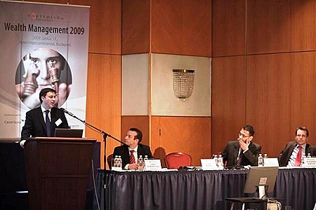 Guy Boden (Standard & Poor\'s Fund Services), Róbert Láng, CFA (NET Média Zrt.- Portfolio.hu), Nitin Ramdaursingh (Citibank, London), Dr. Márton Radnai  (Ramasoft Zrt.)