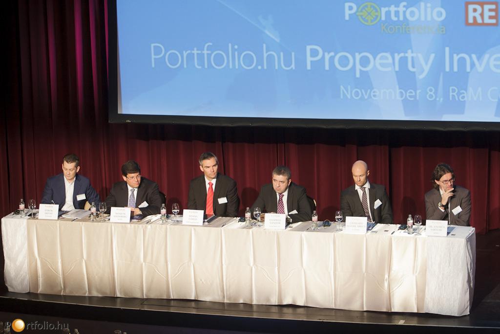 Finanszírozási, befektetési klíma a KKE-régióban. A panelben: Török Árpád (TriGranit), Noah M. Steinberg (WING), Ádány Tamás (OTP Ingatlan), Gyáfrás Sándor (Erste Group Immorent), Gerhard Mayer MRICS (CA Immo) és Dr. Andrea Sartori (KPMG).
