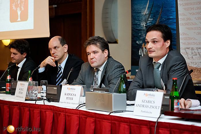 Tenke Gábor (Erste Bank Hungary Zrt.), Nyitrai Győző (OTP Bank Nyrt.), Kuruc Péter (K&H Biztosító Zrt.) és Kadocsa Péter (Aegon Alapkezelő Zrt.).