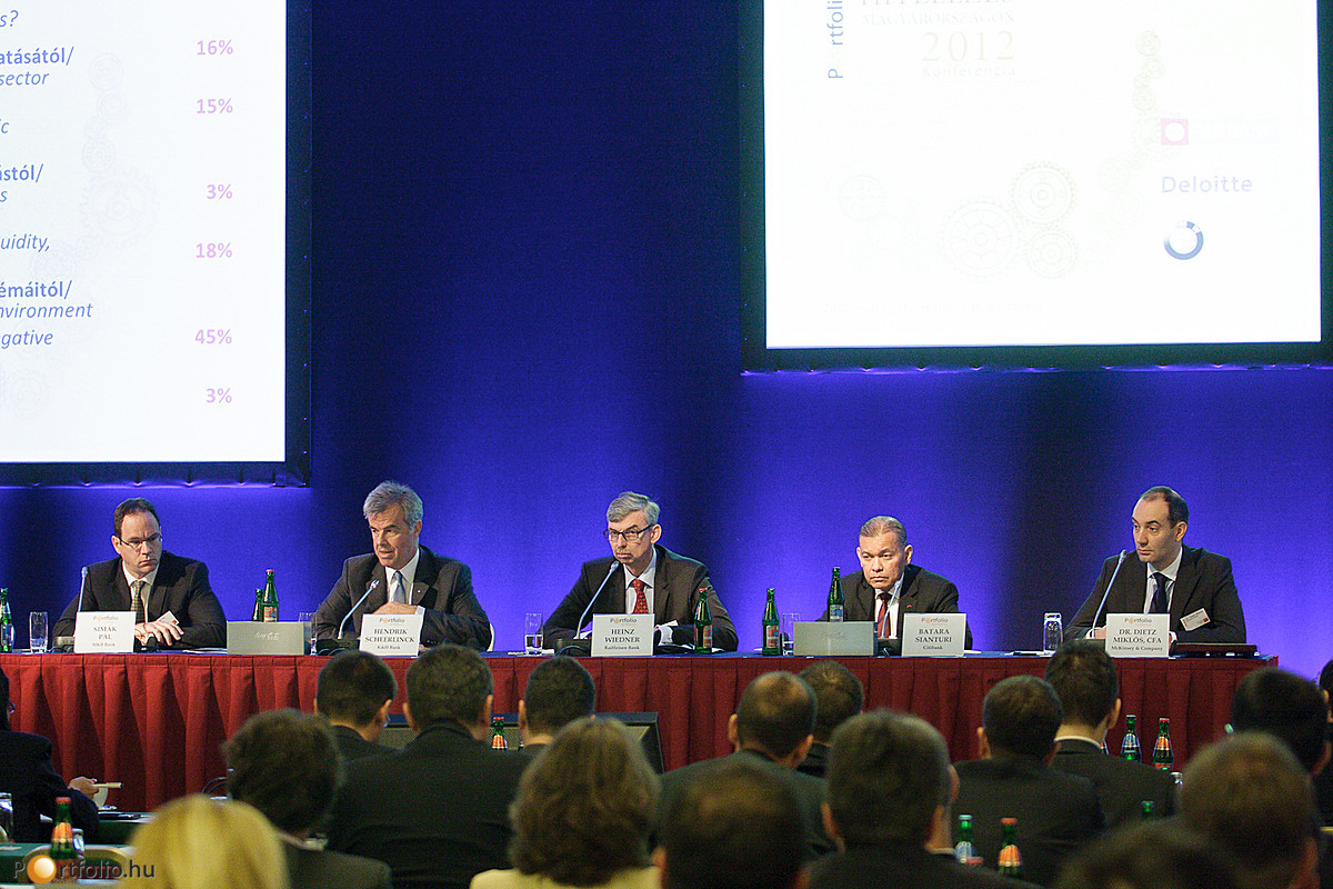 A hitelezés lehetőségei és korlátai a bankvezetők szemével. A beszélgetésben Simák Pál (elnök-vezérigazgató, MKB Bank Zrt.), Hendrik Scheerlinck (vezérigazgató, K&H Bank Zrt.), Heinz Wiedner (vezérigazgató, Raiffeisen Bank Zrt.), Batara Sianturi (elnök-ve