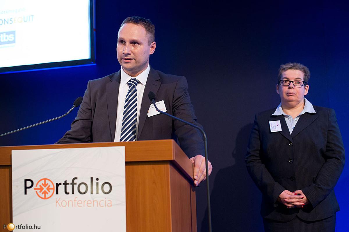 Marton János (SWICON Zrt.) és Nagyné Agárdi Györgyi (Allianz Hungária Biztosító) a biztosítási értékesítésben történő IT-megoldásokról tartottak előadást.