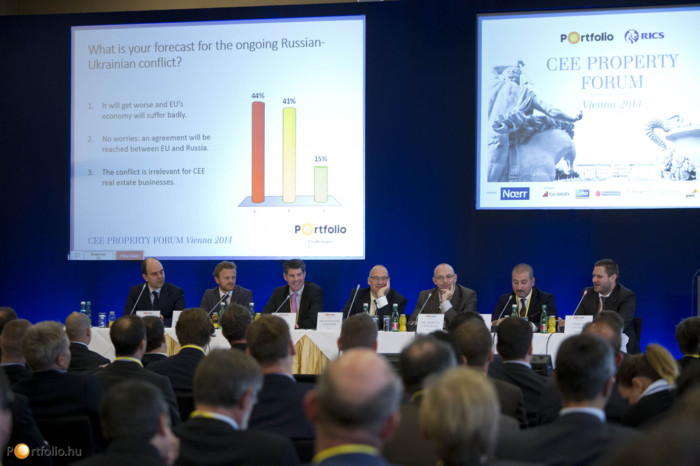 Senior investors' roundtable: CEE investment outlook: Tamás Polster MRICS (Head of Consulting - Cont. Europe, Middle E., Africa (London), DTZ), Markus Kuttner (Head of Asset Management CEE, CA Immo), Ben Maudling FRICS (Head of CEE, Palmer Capital), Prof. Dr. Alexander Goepfert (Partner, Head of the Real Estate Investments Group, Noerr), Dr. Marcus Cieleback (Head of Research, Patrizia AG), Radu Boitan FRICS (Partner - Senior Investment Director, Revetas Capital) and Csanád Csűrös (Moderator, Business Development Director, Portfolio Group).