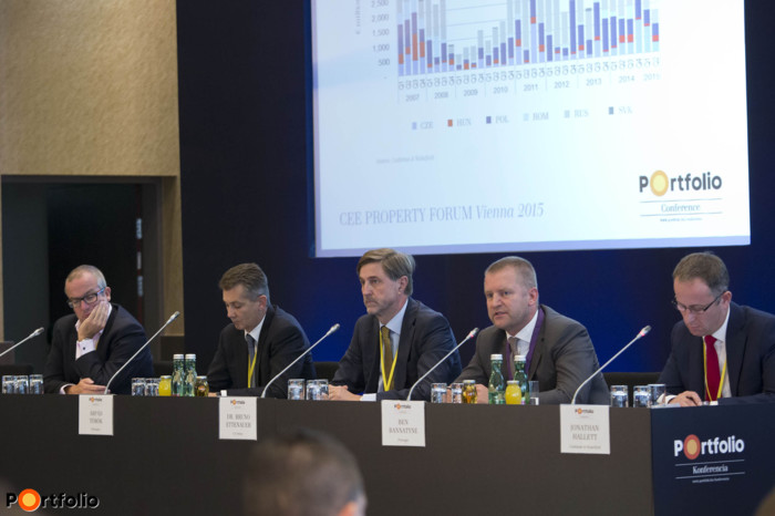 Senior CEE investor and developer roundtable. Participants: Karl Wilson (Managing Director CEE, Aareal Bank), Árpád Török MRICS (CEO, TriGranit), Dr. Bruno Ettenauer MRICS (CEO, CA Immo), Ben Bannatyne MRICS (Managing Director, Regional Head for CEE, ProLogis) and the moderator, Jonathan Hallett MRICS (Managing Partner Central Europe, Cushman & Wakefield).