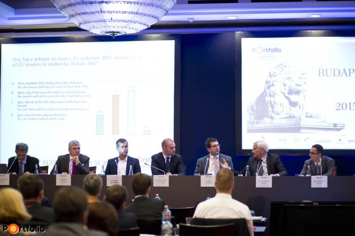 Panel discussion: EU Funds and FDI – How can we produce GDP growth? István János Tóth (Economist, MTA KTI, Corruption Research Center Budapest), László Krisán (CEO, KAVOSZ Zrt.), Zsombor Essősy (CEO, MAPI Magyar Fejlesztési Iroda Zrt.), Nándor Csepreghy (Undersecretary, Prime minister\'s office), László Csaba (Professor, Member of MTA, Central European University), Dr. Etele Baráth (Member, European Economic and Social Committee) and the moderator: Attila Weinhardt (Analyst, Portfolio)