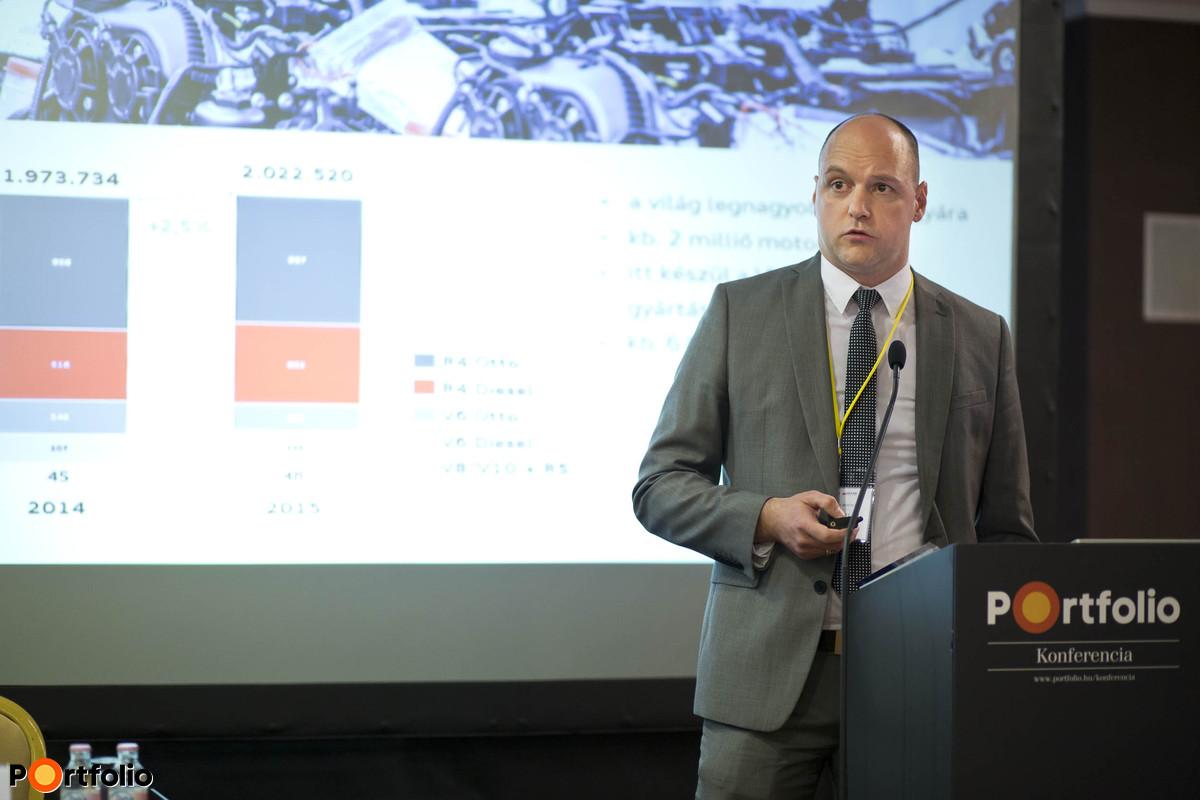 Csúcstechnológia a járműfejlesztésben az Audi Hungáriánál: Dr. Feszty Dániel (járműfejlesztés, szakértő, AUDI Hungaria Motor Kft.).