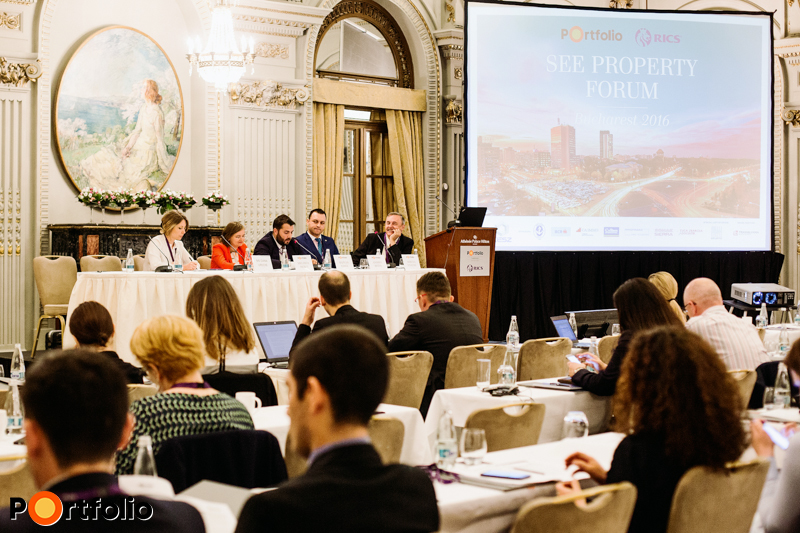 Urban planning – The future of Bucharest. The participants of the conversation: Oana Ureche (Partner, Tuca Zbarcea & Asociatii), Melinda Reikli (Country Manager Romania, S+B Gruppe), Razvan Iorgu (Managing Director Management, CBRE Romania), Andrei Botis (Partner, NAI Romania / VP ROGBC) and the moderator, Mircea Enache (Director, Senior Planner & Information Systems Specialist, CEP).
