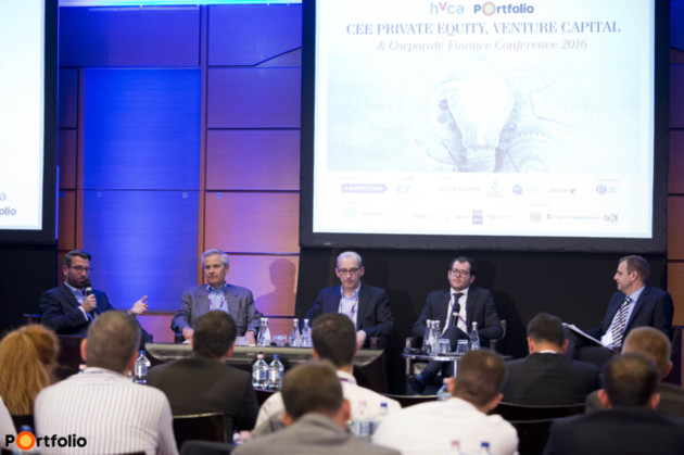 Panel discussion: Cross-border VC transactions in the region. Participants: Michael Schuster (Partner, Speedinvest), László Czirják (Partner, iEurope Group), Dr. József Kövér (Partner, 3TS Capital Partners), Mihály Szalontay (Managing Partner, Buran Venture Capital) and the moderator: Dr. Levente Zsembery (Chairman of the HVCA, CEO of X-Ventures Ltd.).