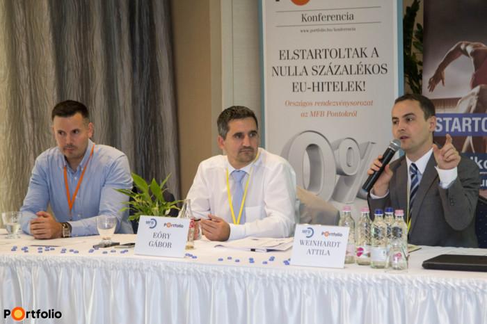 A közönség kérdéseire válaszolnak az előadók: Weinhardt Attila (vezető elemző, Uniós Források rovatvezető, Portfolio); Eőry Gábor (ügyvezető igazgató, Értékesítés-irányítási Igazgatóság, MFB Zrt.) és Váczi Dávid, termékértékesítés támogatási vezető, Budapest Bank (Fotó: Todoroff Lázár)