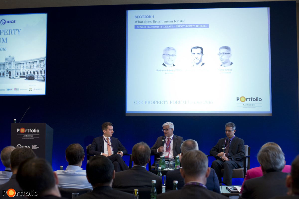 Senior economists' debate – Brexit, Brexit, Brexit… Participants: Peter Attard Montalto (Executive Director and Senior Emerging Markets Economist and Strategist, Nomura), Radovan Jelasity FRICS (Chairman of the Board of Directors, CEO, Erste Bank Hungary), Tatha Ghose (Senior EM Economist, Director, Commerzbank AG)
