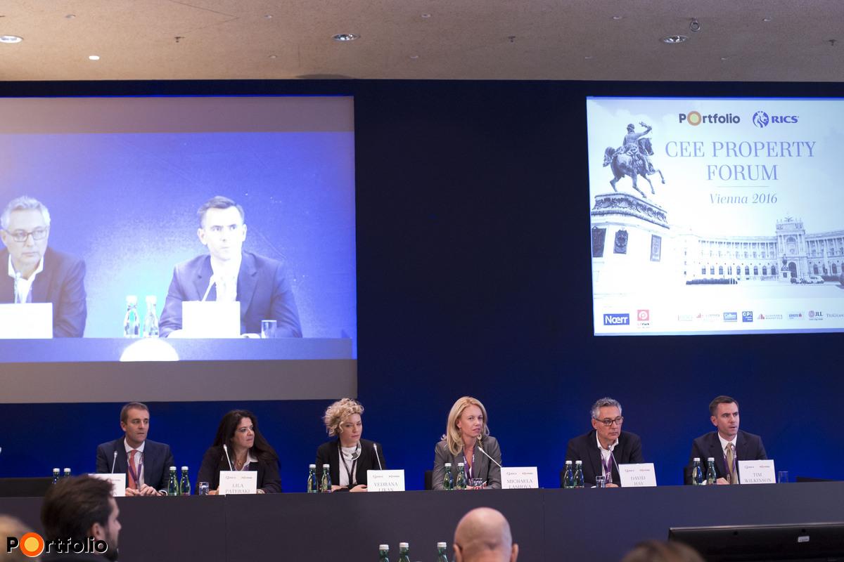 Why invest in SEE? Participants: Andrew Peirson MRICS (Managing Director SEE Region & Romania, JLL), Lila Pateraki (Director, Zeus Capital Management), Vedrana Likan (Managing Partner Croatia, Colliers International), Michaela Lashova MRICS (CEO, Forton, Alliance Partner of Cushman & Wakefield for Bulgaria and FYROM, RICS SEE Ambassador), David Hay (CEO, AFI Europe Romania) and the moderator, Tim Wilkinson MRICS (Chairman, Partner, RICS Romania, DTZ Romania)