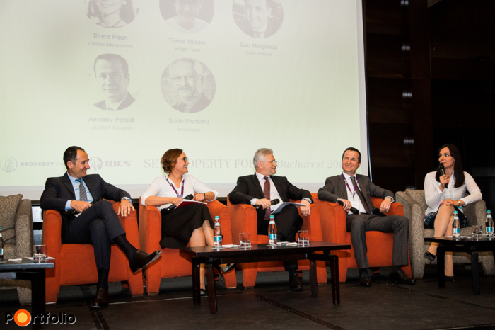 Panel discussion: Office market insights. Conversation participants: Geo Margescu (Founder & CEO, Forte Partners), Timea Henter (Senior Consultant, Knight Frank), Sorin Visoianu (Country Manager Operations Romania, Immofinanz), Antoniu Panait (Managing Director, VASTINT Romania) and the moderator, Ilinca Paun (Managing Partner Romania, Colliers International)