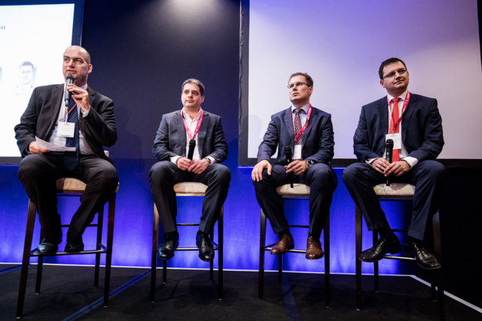 Fintech and Insurtech trends – opening discussion. Participants of the panel, from left to right: Zoltán Bán (CEO, Net Média Zrt. (Portfolio)), Péter Csányi (Managing Director, OTP Bank), Imre Sztanó (Chair-CEO, NN), and Gergely Bacsó (Partner, McKinsey & Company).
