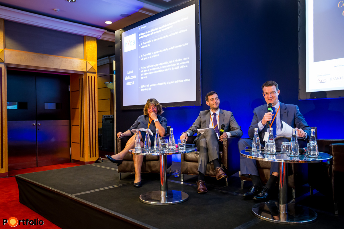 Brexit - New financial system of Europe. Who is going to win after Brexit? Participants of the panel, from left to right: Dr. Júlia Király (Professor, IBS Budapest), Ben Luckock (Head of Policy, British Embassy Budapest) and the moderator, Hugh Owen (Partner, Allen & Overy).