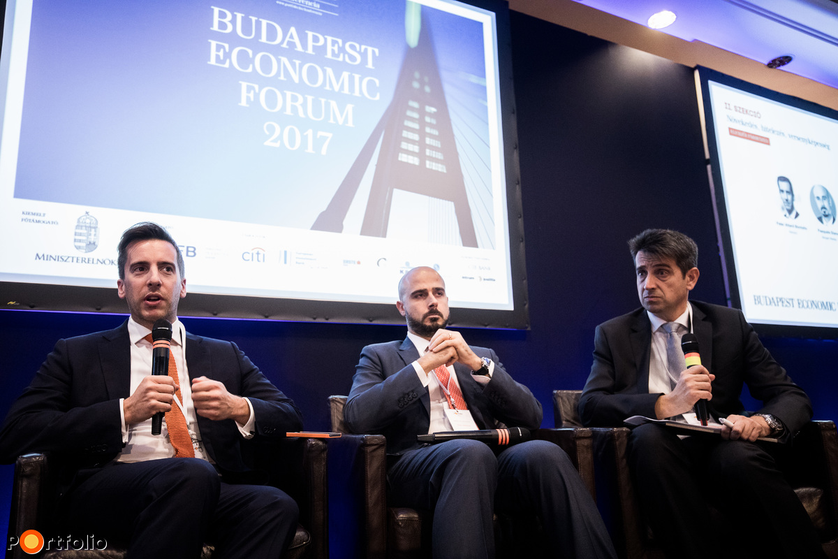 Analysts' dialogue. Participants of the panel: Peter Attard Montalto (Executive Director and Senior Emerging Markets Economist and Strategist, Nomura), Pasquale Diana (Executive Director, Head of CEEMEA Economics, Morgan Stanley) and Tamás Móró (Chief Strategist, Concorde Értékpapír Zrt.)