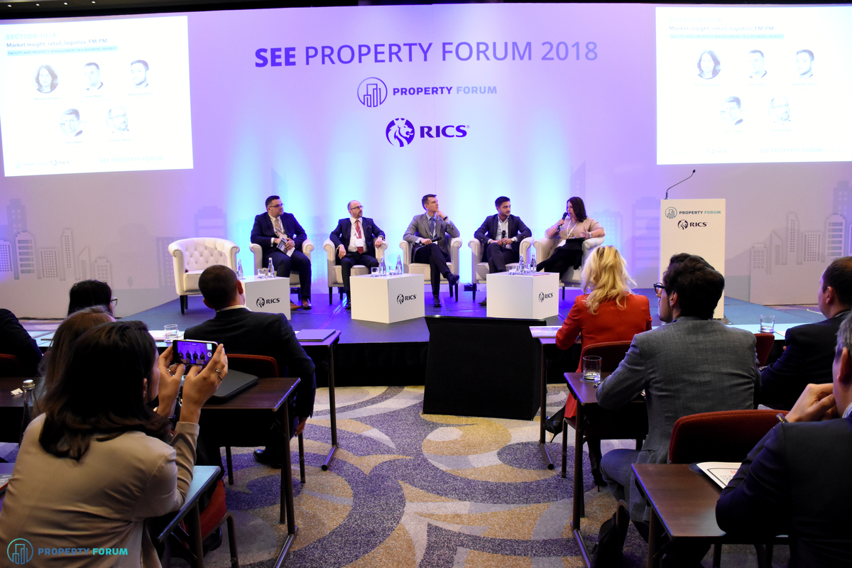 Facility and property management in a booming market. Costin Nistor (Head of Property Management, BNP Paribas Real Estate), Cristian Vasiliu (Managing Director, ROFMA), Sorin Preda (Managing Director, Global Vision), Alexandru Pascu (Executive Manager, MTT Atalian) and the chair, Mariana Stamate (Associate Director, Head of Property Management, JLL Romania).