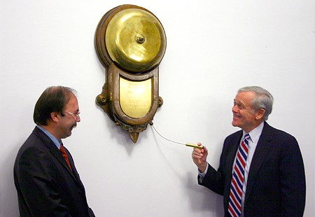 William H. Donaldson, head of the SEC rings the opening bell at the BSE