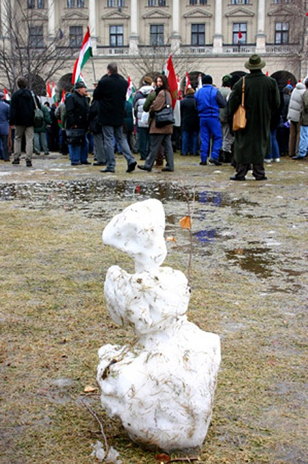 Former snowman and protesters